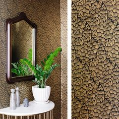 ESCHER Black - Clay coated wallpaper by Relativity Textiles. Hand screen printed in the USA