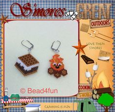 Beaded Earrings Smores and Campfire by Bead4Fun on Etsy