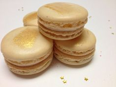 Butterbeer Macarons - Butterscotch flavored shell with caramel buttercream and caramel center