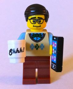 """""""I decided to to see if I could make the librarian version of me – Mr. Library Dude. It was not hard.  I grabbed the Lego computer programmer minifigure. He's wearing a sweater vest and glasses. Doesn't that scream male librarian? I actually think I have that EXACT sweater vest!"""""""