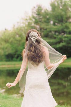 Beaded bridal Veil in ivory by EnrichbyMillie