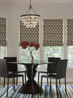 Roman shades - Willow Glen Residence - contemporary - dining room - san francisco - by Lizette Marie Interior Design Regal Design, Window Coverings, Window Treatments, Dining Room Design, Dining Area, Small Dining, Dining Tables, Kitchen Dinning, Kitchen Nook