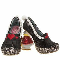 womens irregular choice black alice white rabbit high heels