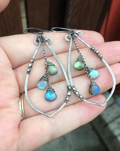 **MADE TO ORDER** Big Boho Labradorite Leaf Dangle Earrings -3 long approx. -All metal .925 sterling silver -Available in oxidized or shiny silver finish (shown with oxidized patina) -AAA labradorite smooth briolettes 7-9mm -Now also available with rainbow moonstone!** -Handmade, limited