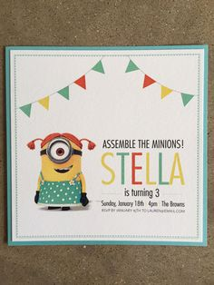 Despicable Me Minions Girls Birthday Invitation by laurenbrownstudio on Etsy https://www.etsy.com/listing/217561114/despicable-me-minions-girls-birthday