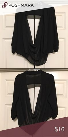 Black sheer blazer Black blazer made of sheer 100% polyester. Sleeves are 3/4 length and ruched on the ends.  Back has draped opening and hangs longer. Naked Zebra Jackets & Coats Blazers