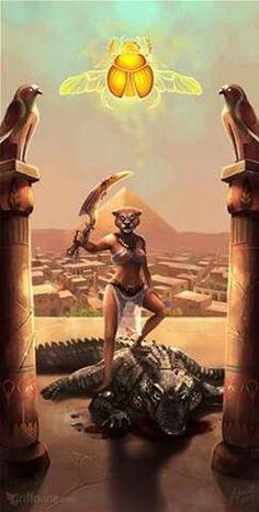 Sekhmet : paradójicamente, en la diosa se mezclan en igual proporción Agua y Fuego, pues según el mito de Ra, Sekhmet es su hija, símbolo de la luz solar y dadora de vida pero a la vez, como ojo izquierdo del dios, equivalente a la Luna, directamente relacionada con Thot y por tanto con la Sabiduría.