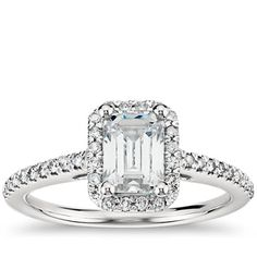 Emerald Cut Halo Diamond Engagement Ring in 14K White Gold  | Blue Nile bluenile.com