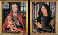 HANS MEMLING: Diptych of Maarten Nieuwenhove, 1487, Oil on oak panel, 52 x 41.5 cm (each), Memlingmuseum, Sint-Janshospitaal, Bruges. This panel shows Memling's mastery of a rich vocabulary of allusions in the Flemish tradition of a van Eyck. As in the Arnolfini Marriage, a convex mirror hangs on the wall behind the Virgin and captures the entire scene. We can see the nobleman at prayer and the Virgin at his side.