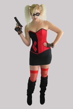 Harley Quinn Overbust Steel Boned Corset by TheCorsetCarriage, $244.75