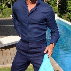 Summer @absolutebespoke @tomaslasoargos #linen #pants #shirt #navy #lino #pantalon #camisa all by #absolutebespoke www.absolutebespoke.com