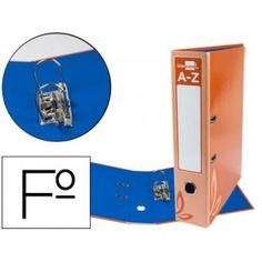 Archivador muy economico con mecanismo de palanca lomo ancho y ranura, fabricado en cartón forrado y plastificado en color naranja