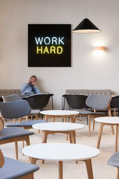 PLC Lounge Chairs and Tables in The Office Group, London.  Designed by Acrylicize