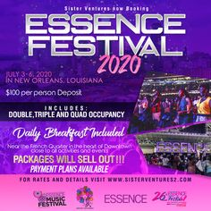 Essence Music festival 2020. Come travel with us to New Orleans. What are you waiting for rooms are booking up fast! It's the Essence Festival 26th Anniversary Celebration and it will sell out. Don't get left out by waiting to book your spot! A low deposit secures your spot with our reserved hotel space in a BRAND NEW HOTEL. Includes Daily Breakfast and 3 Day Trolley pass. Festival Must Haves, Essence Festival, Essence Magazine, African American Culture, Festivals Around The World, Festival Wedding, Group Travel, Travel Information, Time Travel