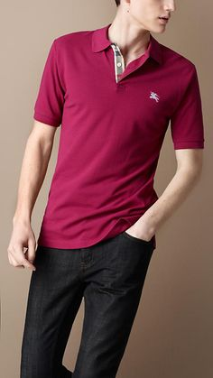 Burberry Check Placket Polo Shirt in Raspberry Sorbet
