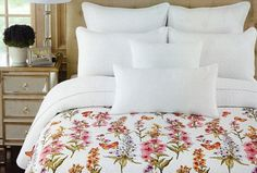 CYNTHIA ROWLEY floral butterfly 3PC QUILT SET pink red orange purple sage COTTON #CynthiaRowley #Cottage