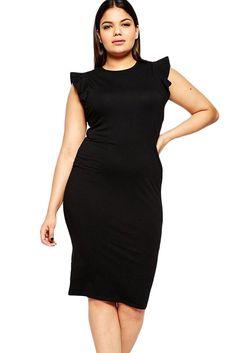 Vestidos Curvy : Vestido midi con volantito al hombro