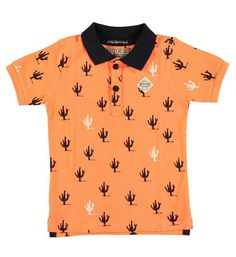 Polo met all over cactusprint en contrasterende kraag. Summer Boy, Kids Fashion Boy, T Shirts, Kids Boys, Polka Dot Top, Style Icons, Polo, Mens Tops, Outfits