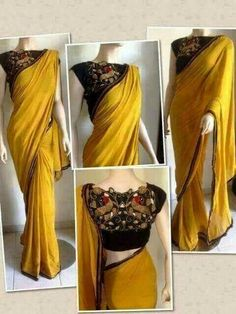 Saree dress - Chiffon is a lightweight transparent fabric originated in French It is very smooth and slippery that is why used for making blouses, sarees, and scarves Since Chiffon is a very delicate fabric, it i Saree Blouse Patterns, Saree Blouse Designs, Indian Dresses, Indian Outfits, Indian Clothes, Sari Dress, Simple Sarees, Stylish Sarees, Blouse Models