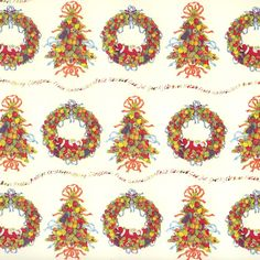 Merry Christmas Fruit Wreaths and Trees Holiday Paper ~ Tassotti Italy