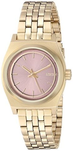 Nixon Womens Small Time Teller Quartz Stainless Steel Automatic Watch Color:Gold-Toned (Model: A3992360-00)