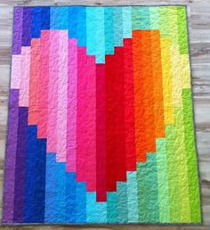Rainbow Heart strip quilt by 5bentneedles this would go good in a kids room..bright! and colorful