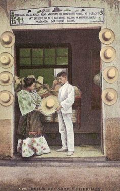 A color postcard showing a hat shop in Intramuros, Manila. Filipino Art, Filipino Culture, Night Sky Wallpaper, Scenery Wallpaper, Manila, Philippines Culture, Philippines Fashion, Filipino Fashion, Philippine Art
