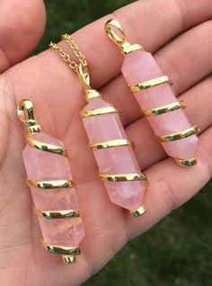 Rose Quartz Pendant - Gold Spiral - double terminated crystal