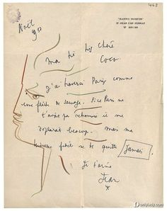 Dessin de Jean Cocteau à Coco Chanel (1950)
