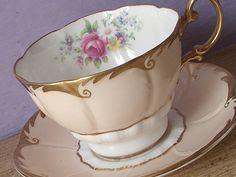 UNIQUE Antique Paragon pale peach tea cup set, English tea cup and saucer, pink rose bone china tea cup, antique tea cup set.