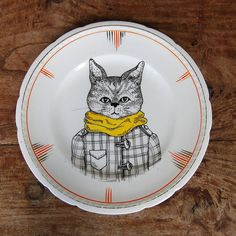 Hand Illustrated Vintage Ceramic Plate 'Cat's by GretelGirlDraws, $40.00