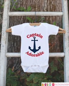 Captain Adorable Outfit - Novelty Baby Shower Gift - Humerous Baby Onepiece - Red and Navy Blue Anchor Nautical Bodysuit - Funny Onepiece