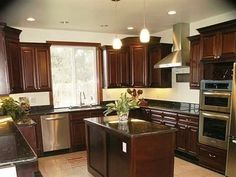 dark wood cabinets kitchen | ... to Brighten Up My Dark Living Room and Kitchen? | Apartment Therapy