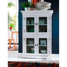 Novasolo Halifax Pure White Mahogany Wood Storage Kitchen Pantry Unit With Glass Doors And 4 Shelves >>> You can get additional details at the image link. (This is an affiliate link) Pantry Closet, Kitchen Pantry, Kitchen Storage, Kitchen Cabinets, Paint Cabinets White, Painting Cabinets, Wooden Cabinets, White Furniture, Kitchen Furniture