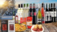 Festive 16-Piece Spanish Wine & Food Gift Hamper Have a tipple or two with the Festive Spanish Wine  and  Food Gift Hamper      Choose from a white, red or mixed selection of wines      Each 16-piece hamper includes:                11 x bottles of wine          1 x bottle of prosecco          1 x El Avion Paella Kit for 6          1 x Sherry Vinegar 100ml by La Chinata          2 x packs of...