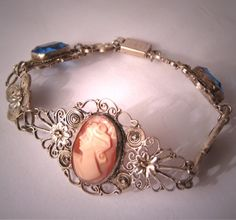 Antique Cameo Bracelet with Sapphire Stones Italian Filigree Vintage