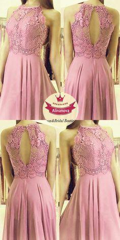 light pink bridesmaid dresses lace halter leg split
