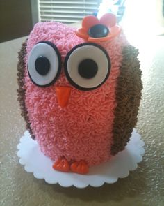 Owl Smash Cake, but in blue