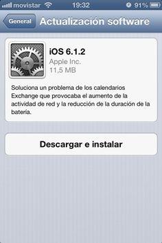 Apple libera la actualización 6.1.2 para iOS