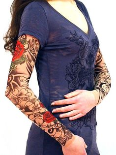 Wild Rose Unisex Single Tattoo Mesh Sleeve, Flamenco, Tan #WildRose #TattooSleeve #Casual