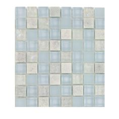 Splashback Tile Mist Trail Blend Marble Glass Mosaic Floor and Wall Tile - 3 in. x 6 in. x 8 mm Tile Sample