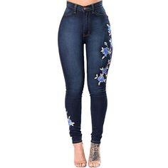 Embroidery Jeans 2018 High Waist Woman Jeans Skinny Plus Size Winter Denim Women Jeans Slim Mom Push Up Jeans Female Stretch Price: USD Moda Jeans, Jeans Denim, Jeans Pants, Boho Pants, Fleece Pants, Denim Skirts, Jeans Skinny, Ripped Jeans, Slim Jeans