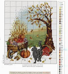 """""""Black Cat in Autumn""""  Counted cross stitch pattern. With color chart."""