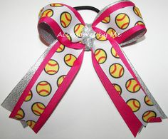 Softball Hair Bow, Ties, Accessories Wholesale, For Sale, Cheer Bows, Pink Bows, Girl Gift, Ponytail Ribbon Streamers, Team Mom Bulk Gifts by AccessoriesbyMe on Etsy https://www.etsy.com/listing/191739988/softball-hair-bow-ties-accessories