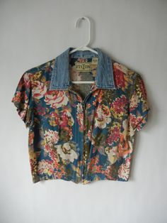 Spring Sale, Vintage Crop Top, Size Medium, Floral, Grunge, 90's, Hipster, Tumblr, Denim Collar