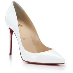 Christian Louboutin Pigalle Follies Patent Leather Pumps ($705) ❤ liked on Polyvore featuring shoes, pumps, apparel & accessories, white, patent leather pumps, white stiletto pumps, pointed toe pumps, white stilettos and stiletto pumps
