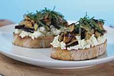 Bruschetta with Ricotta, Grilled Eggplant and Fresh Mint Recipe