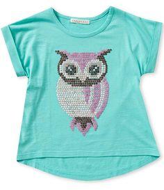 Copper Key Little Girls 4-6X Sequin Owl Tee