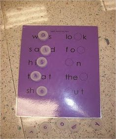 Sight words: Fill in the missing letter with clear water bottle caps