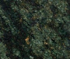 Seaweed Green Granite--this looks like ours. dark green w/ gold-bronze flecks. Dark Granite, Granite Stone, Stone Countertops, Travertine, Granite Colors, Stone Supplier, Faux Painting, Wall Cladding, Faux Stone